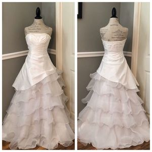 NEW WHITE SATIN BEADED ORGANZA FORMAL WEDDING GOWN